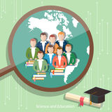 Education group of students distance learning. Higher online education international e-learning college university vector Stock Photography
