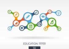 Education. Growth abstract background with connected metaball and integrated icons. For elearning, knowledge, learn, analytics, network, social media, global vector illustration