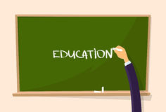 Education Hand Draw Chalk on Green Board Royalty Free Stock Photo