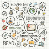 Education hand draw integrated color icons set Stock Photos