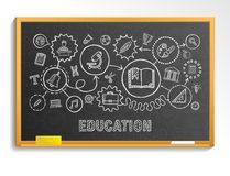 Education hand draw integrated icons set on school blackboard vector illustration