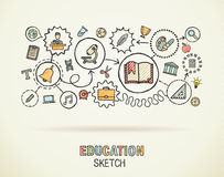 Education hand draw sketch icons vector illustration