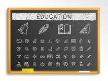 Education hand drawing line icons. chalk sketch sign illustration on blackboard vector illustration