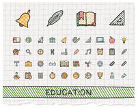 Education hand drawing line icons. Royalty Free Stock Images