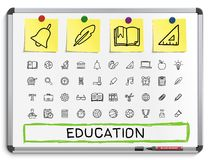 Education hand drawing line icons. royalty free illustration