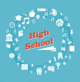 Education high school icons. Royalty Free Stock Photos