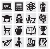 Education icon. Vector black education icons set on gray Royalty Free Stock Photo