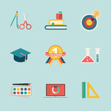 Education icon on blue background Stock Photography