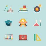 Education icon on blue background Stock Photography