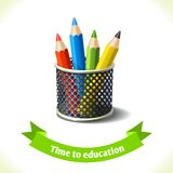 Education icon colored pencils. Realistic school colored pencils icon with ribbon banner isolated on white background vector illustration Royalty Free Stock Photos