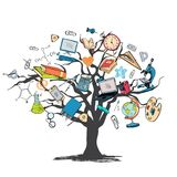 Education icon doodle tree Stock Image