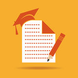 Education icon with graduation cap ,note and pencil Stock Photo