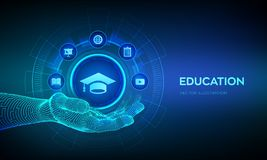 Education icon in hand. Innovative online e-learning and internet technology concept. Webinar, knowledge, online training courses