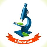 Education icon microscope Stock Image