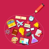 Education icon outlined with Pencil Royalty Free Stock Images
