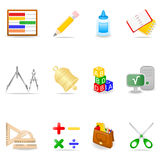Education icon set. Icon set with school symbols Stock Illustration