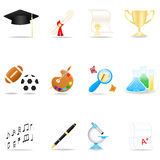 Education icon set. Icon set with school symbols Vector Illustration