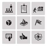 Education icon set. Black sign on gray background. Education icon set in minimalist style. Black sign on gray background Royalty Free Stock Image