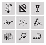 Education icon set. Black sign on gray background Royalty Free Stock Image