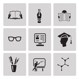 Education icon set. Black sign on gray background Royalty Free Stock Photography