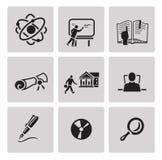 Education icon set. Black sign on gray background Stock Image