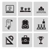 Education icon set. Black sign on gray background Royalty Free Stock Photo