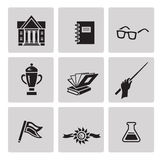 Education icon set. Black sign on gray background Royalty Free Stock Images
