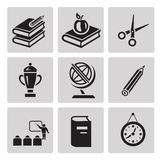 Education icon set. Black sign on gray background Stock Photos