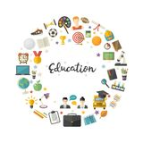 Education icon set in circle in flat style vector. Illustration over white.School,university,college,science,geography,mathematics,certificate,online education Stock Photo