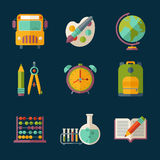 Education icon. Set of flat vector education and school supplies icons Royalty Free Stock Images