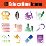 Education icon set. Gradient color design. Vector illustration Royalty Free Stock Photography