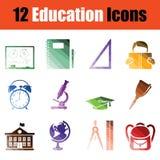 Education icon set. Gradient color design. Vector illustration Royalty Free Stock Photo