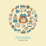 Education icon set, Logo design template Royalty Free Stock Images