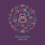 Education icon set, Logo design template Stock Images