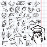 Education icon set. Set of monochrome education icons on the notebook sheet Stock Photos
