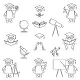 Education Icon Set. Scientist and education icon set. Thin line art style.  on white background Stock Photography