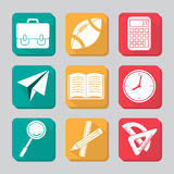 Education icon set. With shadow Royalty Free Stock Image