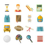 Education icon set. Vector Education icons set in flat style  on a white background Royalty Free Stock Image