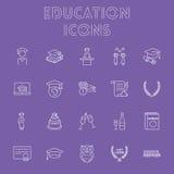 Education icon set. Vector light purple icon isolated on dark purple background Stock Image