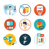 Education icon set Welcome back to school Flat design Royalty Free Stock Photo
