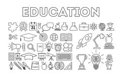 Education icon set. Education icon set on white background. Golden cup, lightbulb, apple, book and more. Black and white Stock Photos