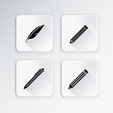 Education icon set for writing. Education icon set with quill,ball pen,pencil,crayon for writing Royalty Free Stock Photos