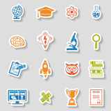 Education Icon Sticker Set Stock Photos
