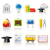 Education icons. Set of 12 education icons Stock Photo