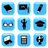 Education icons. Vector set of education icons Royalty Free Stock Photography
