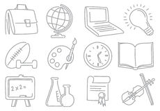 Education icons. Doodles education end school icons Royalty Free Stock Photography