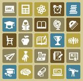 Education icons. Vector black higher education icons set on color Royalty Free Stock Photo
