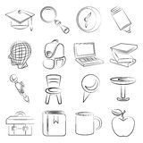 Education icons. Set of 16 sketched education icons Stock Photos