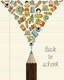 Education icons back to school pencil. Stock Photography