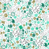 Education icons back to school seamless pattern. Back to School green icons education seamless pattern background. Vector layered for easy personalization stock illustration